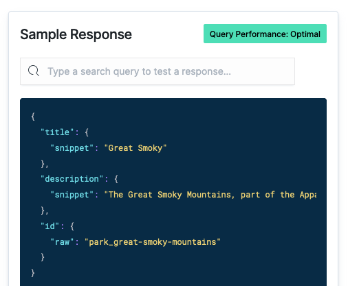 An example query beneath the Query Tester. And the Optimal banner.