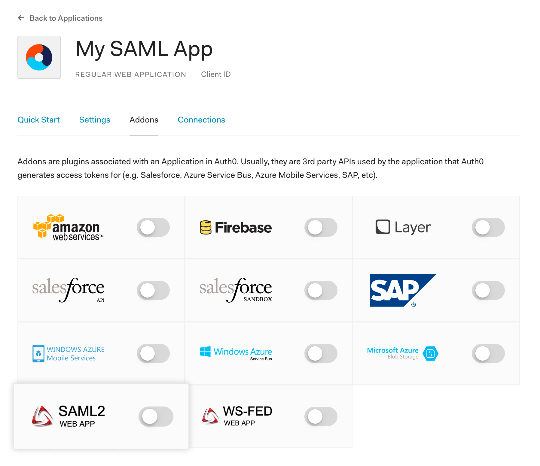 Turning on SAML 2.0 in Auth0