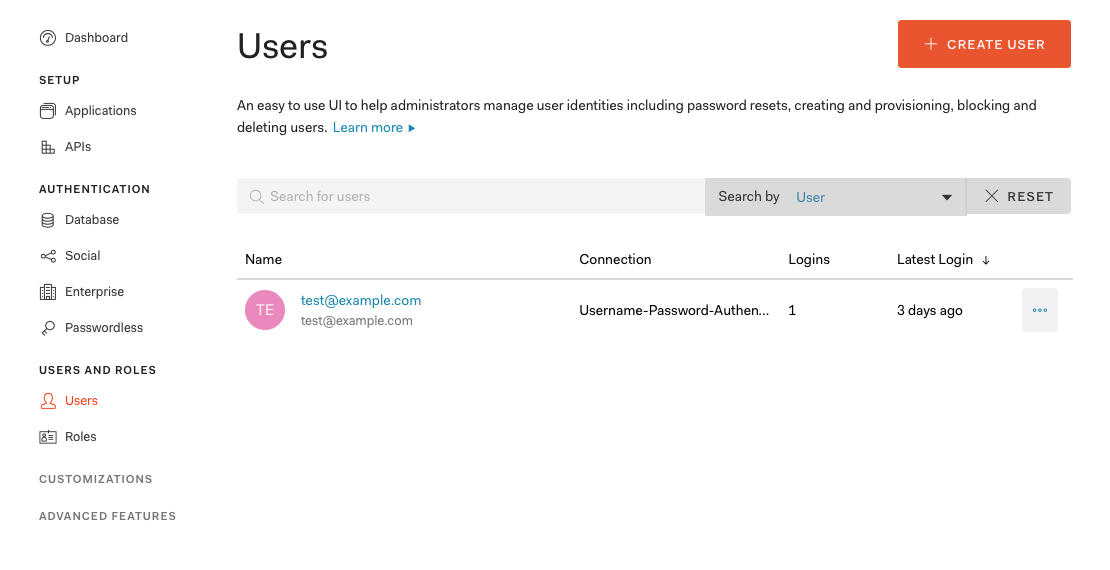 Creating a user in Auth0