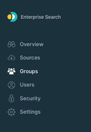 The sidebar menu with groups highlighted.