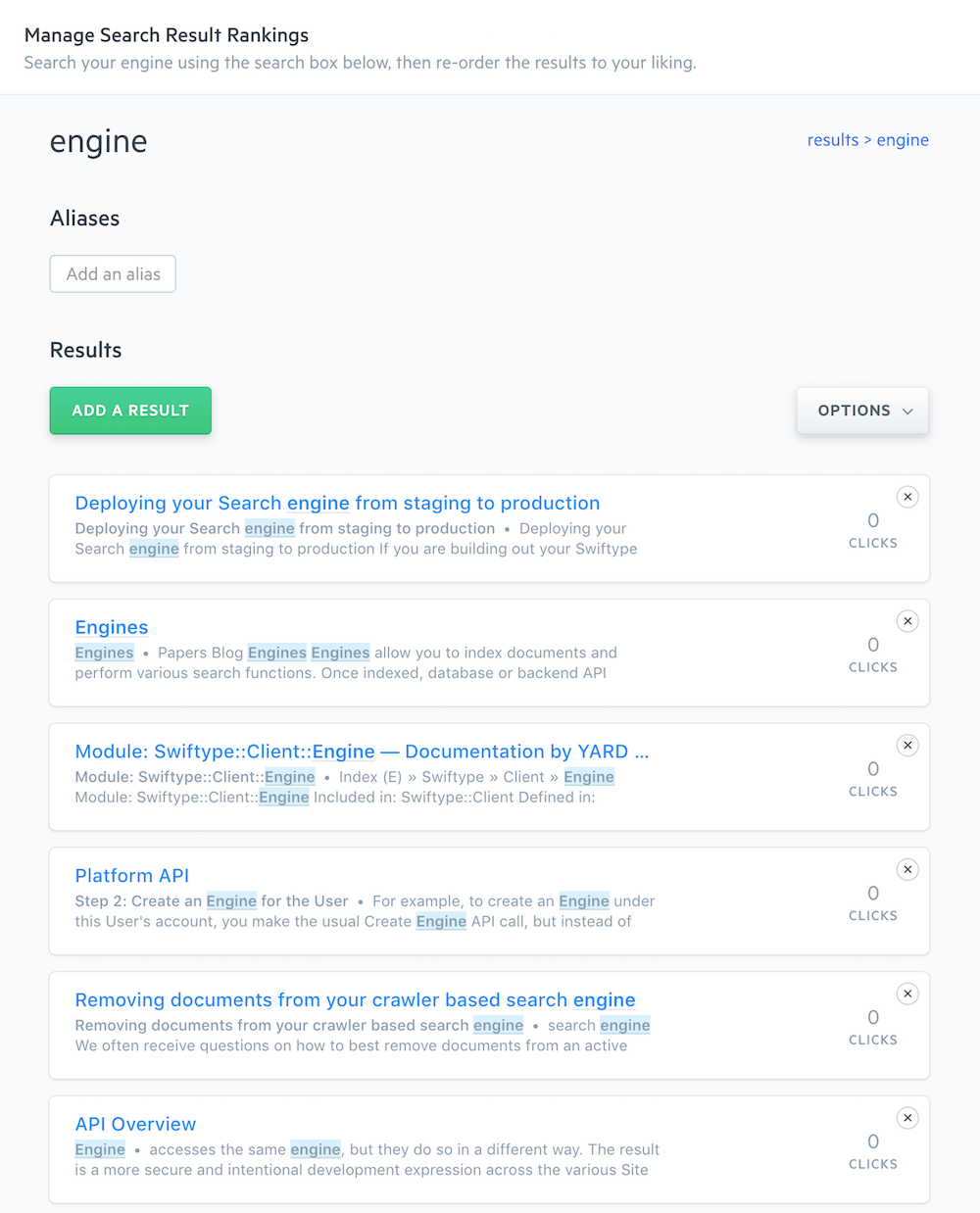 A list of organic search results for the engine query.