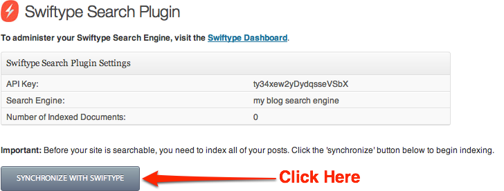 Swiftype WordPress Plugin synchronize button