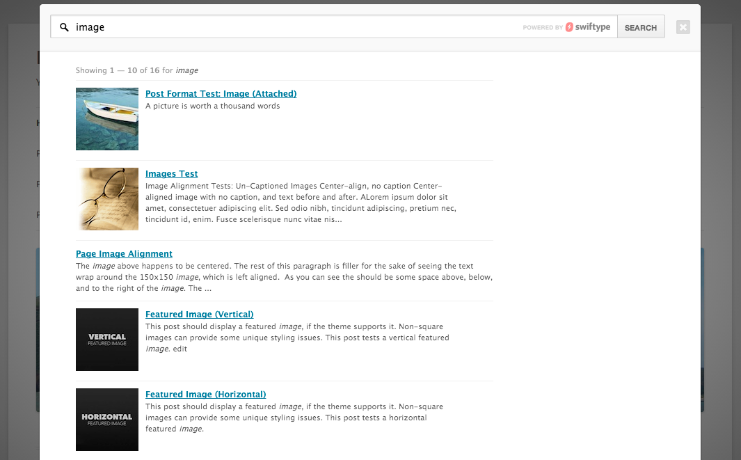 Using the Swiftype Search Results Overlay with WordPress | Swiftype ...