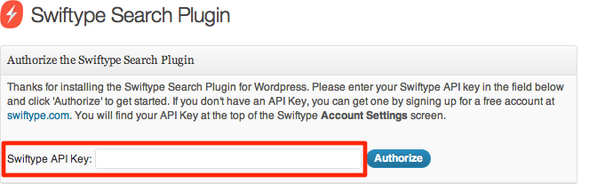 Swiftype WordPress Plugin API key screen